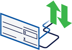 a check with up and down arrows