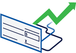 a check with an upward arrow