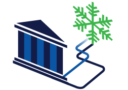 a bank with a snow flake