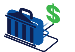 a bank suitcase with a dollar sign