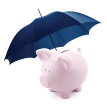 A pig under an umbrella (Links to The Hicksville Bank insurance site.)