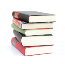 A stack of books (Links to Hicksville Bank Online education center)