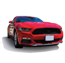 A Red Mustang (Links to Hicksville Bank auto loan page.)