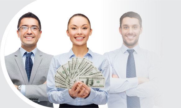 businessmen and businesswomen holding cash